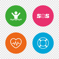SOS lifebuoy icon. Heartbeat cardiogram.