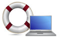 Sos lifesaver laptop illustration design Royalty Free Stock Images