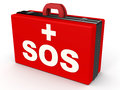 Sos medical word on a red doctor s bag concept of instant medical help or trauma assistance Stock Photo