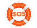 Sos sign with lifebuoy on a white background Royalty Free Stock Photos