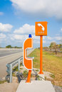 Sos sign and phone box on highway road safety thailand Stock Images