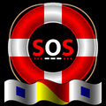 SOS symbol with lifebelt Royalty Free Stock Images