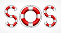 Sos symbol on white of red life buoys background vector illustration Royalty Free Stock Images
