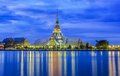 Sothorn temple wat and pagoda in night at chachoengsao province thailand Stock Photography