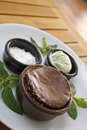 Souffle with ice cream and mint Stock Photo