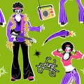 Soul Party Time. Dancers of soul pattern funk or disco.People in 1980s, eighties style clothes dancing disco, cartoon vector Royalty Free Stock Photo