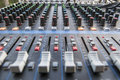Sound board closeup for outside live performance Royalty Free Stock Photo