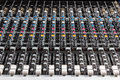 Sound board mixer black dj closeup with buttons and controls Stock Photos