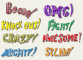 Sound effects doodle style vector illustration Stock Photos
