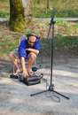Sound Engineer on Location, Slovenia Royalty Free Stock Image