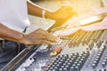 Sound engineer working with sound mixer Royalty Free Stock Photo
