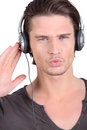 Sound interference whilst listening to music Royalty Free Stock Photos