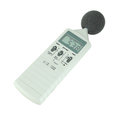 Sound level meter display show low on white background Stock Photos