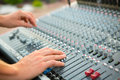 Sound mixer engineer works with hands close up Royalty Free Stock Photo