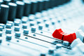 Sound mixer red fader ahead Stock Image