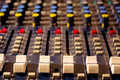 Sound mixing console audio mixer board fader and knobs photography Stock Photo