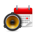 Sound speaker and calendar Royalty Free Stock Photography