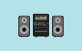 Sound system flat vector design music Royalty Free Stock Photo