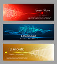 Sound wave banners. Digital abstract vibrant waveform lines energy cards vector illustration Royalty Free Stock Photo