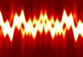 Sound wave bright on a soft red background Royalty Free Stock Photos