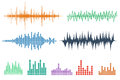 Sound Wave Icon Set. Music soundwave icons set. Equalize audio a