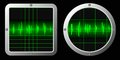 Sound waves vector picture of two screens with signals Royalty Free Stock Image