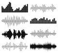 Sound waves vector set. Audio equalizer.