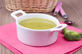 Soup with brocolli serving on a table Royalty Free Stock Images