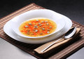 Soup broth with noodle and vegetables Stock Image