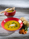 Soup with carrots and broccoli Stock Images