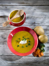 Soup with carrots and broccoli Royalty Free Stock Photo