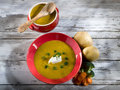 Soup with carrots and broccoli Stock Photo