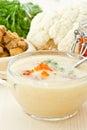 Soup cauliflower puree with red caviar Royalty Free Stock Photo