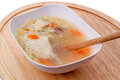 Soup with chicken home made in a white bowl Royalty Free Stock Images
