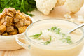 Soup Cream of cauliflower Stock Photos