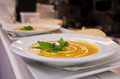 Soup with cream and vegetables Royalty Free Stock Photos