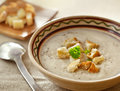 Soup and dried crusts on the table Royalty Free Stock Photos