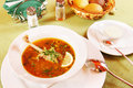 Soup with duck in a plate Royalty Free Stock Images