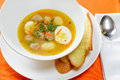 Soup with eggs and meatballs Royalty Free Stock Photo
