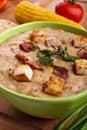 Soup för serving för havrekrämpuré Royaltyfri Bild