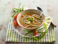 Soup green beans onions tomatoes vegetarian food Royalty Free Stock Image
