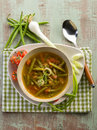 Soup green beans onions tomatoes vegetarian food Royalty Free Stock Photography