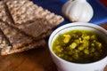 Soup of green beans, vegan food