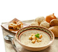 Soup and ingredients on the tablecloth Royalty Free Stock Images