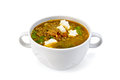 Soup lentil with spinach and cheese in white bowl Royalty Free Stock Photo