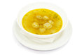 Soup with meatball for child and broth in plate restaurant menu Royalty Free Stock Photos