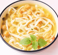 Soup of noodles and chick peas a fresh asian Royalty Free Stock Photo