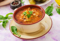 Soup with pickled cucumbers and pearl barley - rassolnik Royalty Free Stock Photo