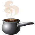 Soup pot vector illustration of a steaming with smoke Stock Image