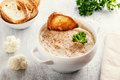 Soup puree with cauliflower and croutons Royalty Free Stock Photo